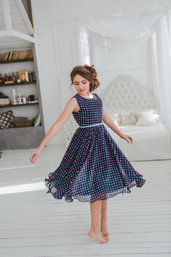 f8e5b37b0b8 Платье для девочки Шифон горох